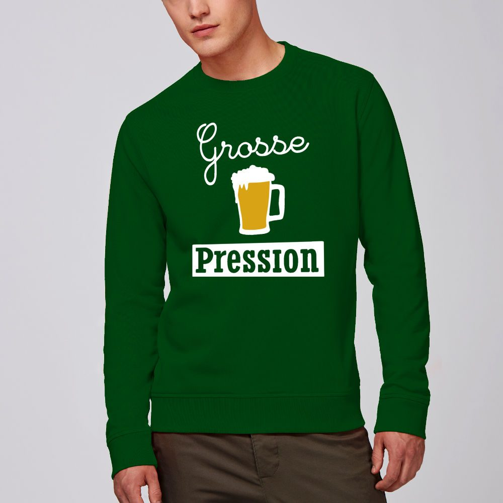 sweat vert bouteille homme grosse pression